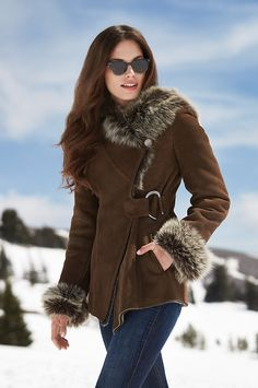 Women's Khaki Hooded Shearling Sheepskin Jacket with Toscana Trim. Khaki plush shearling with hood trimmed in Toscana for a coat fit for a queen. Zip pockets, Toscana trimmed cuffs, and a tapered waist finish this commanding style that fastens off center. Coats For Women, Jackets For Women, Sheepskin Jacket, Stylish Jackets, Shearling Jacket, Fur Fashion, Fashion Tips, Winter Coat, Casual Outfits