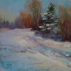'Winter Light'                6x6                pastel            ©Karen Margulis purchase painting with paypal  $75   Painting snow with p...