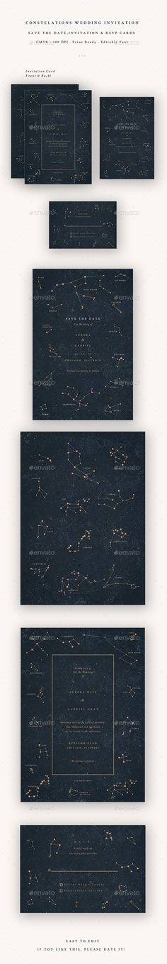 Constellations #Wedding Invitation - #Cards & #Invites Print Templates Download here: https://graphicriver.net/item/constellations-wedding-invitation/20134608?ref=alena994
