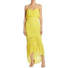 LIKELY Birchleigh Dress (£155) ❤ liked on Polyvore featuring dresses, high low dresses, sweetheart dress, short in front long in back dress, yellow sweetheart dress and yellow cotton dress