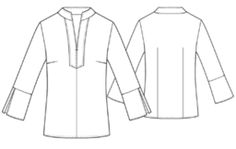 Free sewing pattern for tunic with placket collar.