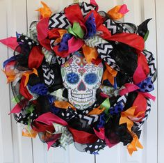 Large Day of The Dead deco mesh wreath. Dia de by MadyBellaDesigns