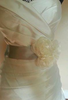 Lydia Jane Silver Ivory Flower Bridal Sash Wedding Gown Sash