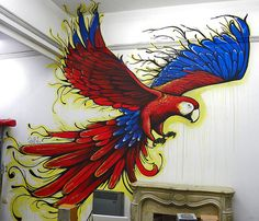 Guacamaya Rooster, Bee, Animals, Crop Tops, Mural Painting, Fingernail Designs, Life, Animales, Animaux