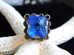 VINTAGE MEXICO 1950s STERLING SILVER 925 COBALT SAPPHIRE GLASS BIG RING SIZE 7.5 #Mexican #Solitaire