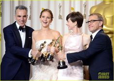 Actor Daniel Day-Lewis, actress Jennifer Lawrence, actress Anne Hathaway and actor Christoph Waltz pose in the press room during the Oscars at the Loews Hollywood Hotel on February 2013 in Hollywood, California. Jennifer Lawrence, Jean Dujardin, Best Actress Award, Best Actor, Anne Hathaway, Oscars, Oscar 2013, Bucket List For Girls, Hollywood Hotel