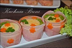 Jajka w galarecie w szynkowych kubeczkach Happy Foods, Good To Know, Cantaloupe, Catering, Pudding, Dishes, Meat, Fruit, Desserts