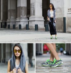 Topshop Jersey Maxi Skirt, Hooded Vest, Carrera Racing Mirrored Sunnies, Nike Air Max 90 - Sporty chic in fly kicks - Margaret Phomma