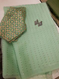 pista green woven sequins organza saree from aavaranaa Cotton Saree Designs, Sari Blouse Designs, Saree Blouse Patterns, Fancy Blouse Designs, Organza Saree, Chiffon Saree, Stylish Blouse Design, Saree Trends, Stylish Sarees