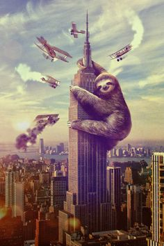 Slothzilla Empire State Building by sharpshirter