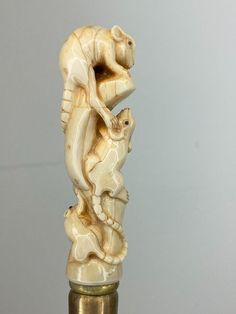 Walking stick, Walrus ivory handle - rat group - Brass, - Catawiki Walking Sticks And Canes, Rats, Bones, Ivory, Carving, Handle, Statue, Group, Wood