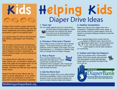 Kids can collect change or diapers for families in need!