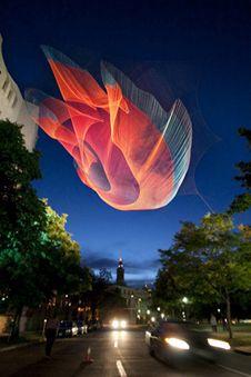 string installations by American artist, Janet Echelman.