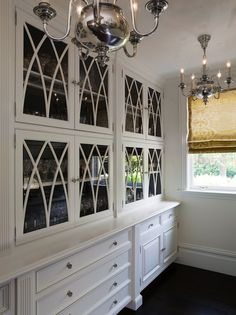 Glass Front Cabinets - great butler's pantry - Pacific Peninsula Group