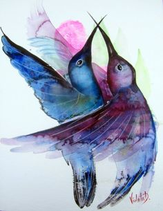 This is an original watercolor of two hummingbirds hovering in mid-air. Painted on high quality Hahnemühle 425 gms (g/m2) watercolor paper, using professional watercolor paints by Schmincke, and...