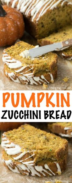 Pumpkin Zucchini Bread with Cream Cheese Glaze is loaded with pumpkin and zucchini accompanied by just the right amount of chocolate chips and just a hint of cinnamon, all topped with a delicate cream cheese glaze. This bread is so easy and the result is a moist and delicious loaf you will love to serve!
