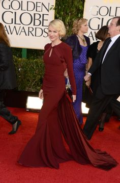 2013 Golden Globes Red Carpet. What a gorgeous dress! And the wine colour is daring. Great with long sleeves and everyone else strapless.