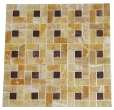 1 in. x 2 in. Honey Polished Finish Pinwheel Pattern Mesh-Mounted Onyx Mosaic Tile with 3/8 in. Red Dot Inserts