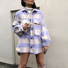 oversized Checked Collared Overshirt pink Wool Blend Tweed Jacket with big pockets fall clothes for women trendy spring coats Oversized Mantel, Oversized Blouse, Oversized Coat, Tweed Jacket, Shirt Jacket, Mode Mantel, Plaid Coat, Wool Coat, Long Jumpsuits