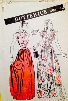 1940's Vintage Dance Dress Low V Fitted Diamond Inset Butterick Pattern #3389