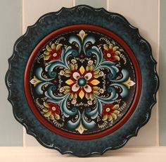 17 1 2 034 Handmade Blue Wooden Norwegian Rosemaling Decorative Plate | eBay