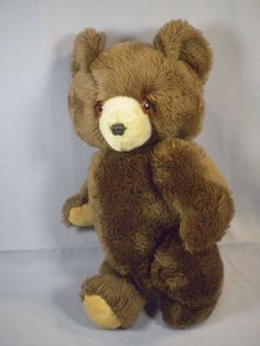 """Vintage Rare Japan 14"""" Kuddle Toys Jointed Brown Teddy Bear Stuffed Plush  #Unknown"""