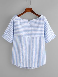 Shop Boat Neckline Contrast Striped Blouse With Buttons online. SheIn offers Boat Neckline Contrast Striped Blouse With Buttons & more to fit your fashionable needs. Salwar Designs, Blouse Designs, Casual Outfits, Fashion Outfits, Shirt Refashion, Short Tops, Blouse Patterns, Mode Style, Sewing Clothes
