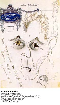 Artwork by Picabia, portraying Man Ray with a small self portrait by KIKI, 1925 Man Ray, Queen, Portrait, Canvas, Artwork, Tela, Work Of Art, Headshot Photography, Auguste Rodin Artwork