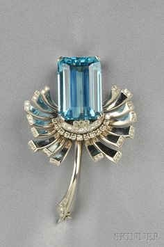 14kt White Gold, Aquamarine, and Diamond Brooch, set with an emerald-cut aquamarine measuring approx. 23.49 x 16.13 x 10.15 mm, single-cut diamond melee accents