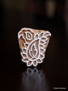 Hand Carved Indian Wood Textile Stamp Block- Small Paisley Motif via Etsy