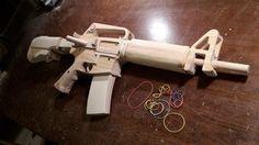 How to make a semi-auto M16 [Rubberband-Gun] - Free templates - YouTube