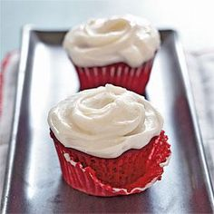 The frosting takes this red velvet cupcake recipe from great to fantastic. The secret? Use real butter and real cream cheese. The results are mouthwateringly good.