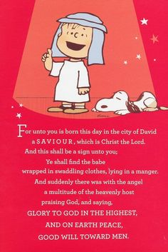 Charlie Brown & Snoopy: For unto us a Savior was born. Meaning Of Christmas, What Is Christmas, Christmas Time Is Here, Beautiful Christmas, Charlie Brown Et Snoopy, Charlie Brown Christmas, Best Merry Christmas Wishes, Christmas Quotes, Christmas Cards