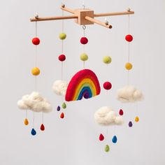 Needle Felt Rainbow And Clouds Cot Mobile - toys & games