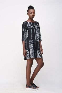 Image of Linter Dress in B&W Parallel