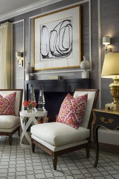 Gray/silver grass cloth accented by molding.  Use instead of the expensive Schumacher acanthus?