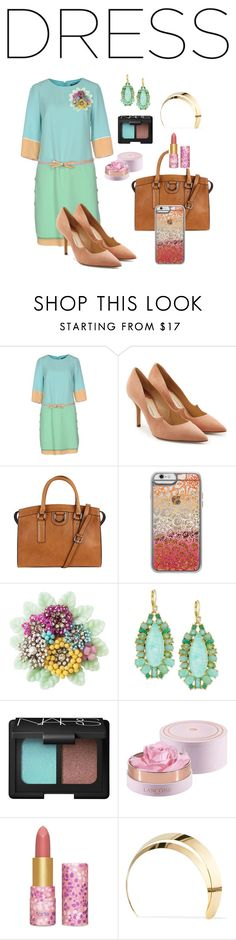 """#twotonedress"" by kelly-haven-russell on Polyvore featuring Class Roberto Cavalli, Paul Andrew, Casetify, Miriam Haskell, Kate Spade, NARS Cosmetics, tarte and Lelet NY"