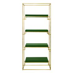 SHADOW GRG - GOLD LEAF ETAGERE WITH GREEN LACQUER SHELVES