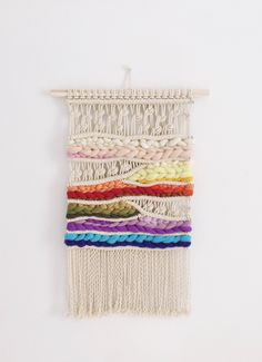 RAINBOW #1 Modern macrame wall hanging, OOAK, weaving, woven wall hanging by NovaMercury on Etsy https://www.etsy.com/listing/542554972/rainbow-1-modern-macrame-wall-hanging