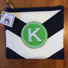 New Toss Bag Never used canvas material navy canvas green K Toss Bags Cosmetic Bags & Cases