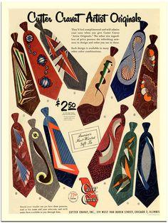 Cutter Cravats, Vintage Menswear Tie Advert, 1950s