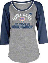 Notre Dame Fighting Irish Women's 2013 BCS National Championship Game Tri-Blend 3/4 Sleeve T-Shirt - Navy  http://www.fansedge.com/Notre-Dame-Fighting-Irish-Womens-2013-BCS-National-Championship-Game-Tri-Blend-34-Sleeve-T-Shirt---Navy-_356506182_PD.html?social=pinterest_pfid42-67233