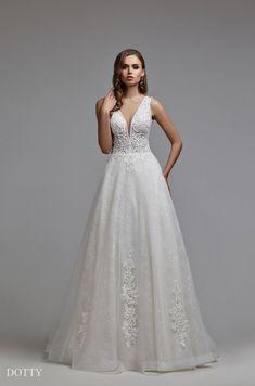 Dotty Wedding Dress Low Back, Buy Wedding Dress, Wedding Gowns, Ivory Wedding, Bridal Nightgown, Bridal Dresses, Corset, Wholesale Wedding Dresses, Deep V Neck Dress