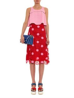 House Of Holland Floral-embroidered A-line cropped top
