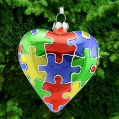 Puzzle Piece Glass Heart Ornament at The Autism. Autism Awareness Crafts, Autism Crafts, Christmas Time, Christmas Crafts, Christmas Bulbs, Diy And Crafts, Crafts For Kids, Heart Ornament, Puzzle Pieces