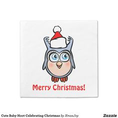 Cute Baby Hoot Celebrating Christmas Napkin
