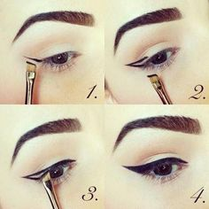 Picture for DIY winged eye liner with angled makeup brush and powder eye liner versus gel, liquid or pencil eye liners which can tend to look very harsh and fake in natural light.