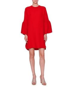 VALENTINO BELL-SLEEVE HIGH-LOW DRESS, RED. #valentino #cloth #