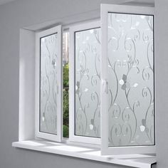 New flower pattern static cling opaque self-adhesive glass film sunscreen insulation vinyl Frosted window film privacy sticker Bathroom Window Glass, Bathroom Windows, Shadow Box Coffee Table, Etched Glass Door, Frosted Window Film, Window Grill Design, Faux Stained Glass, Privacy Glass, Ceiling Design