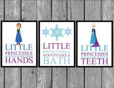 Kids Wall Art/Wall Prints/Princess Bathroom Prints/Princess Room Decor/Artwork/Set of 3 prints
